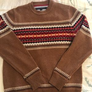 Tommy Hilfiger tan multi color print sweater lg